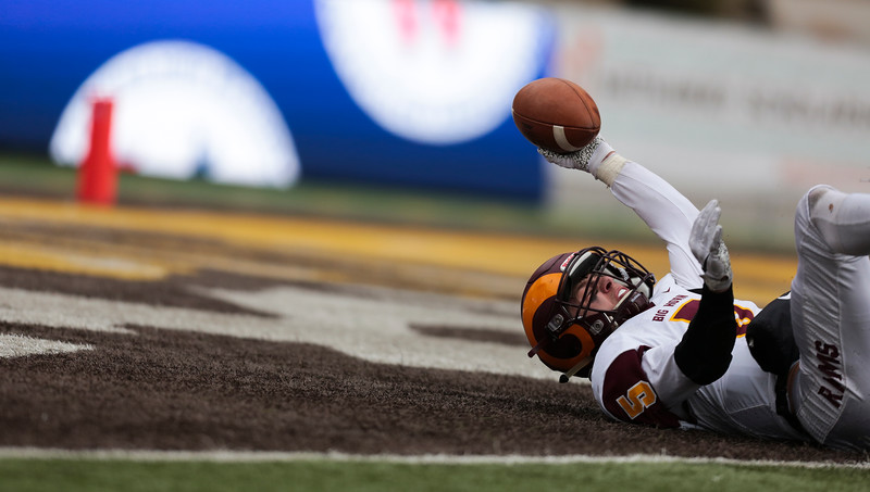 Big Horn's dives, stretches and lands in the end zone for a touchdown Saturday, Nov. 16, 2019 at War Memorial Stadium. Cokeville takes on Big Horn in the WHSAA 1A Championship match. Nadav Soroker/Wyoming Tribune Eagle