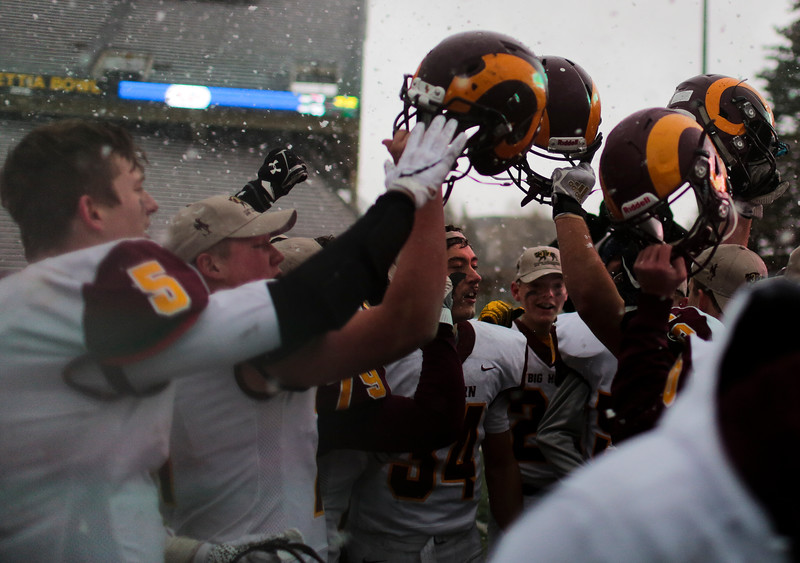 Big Horn players raise their helmets in celebration Saturday, Nov. 16, 2019 at War Memorial Stadium. Cokeville takes on Big Horn in the WHSAA 1A Championship match. Nadav Soroker/Wyoming Tribune Eagle