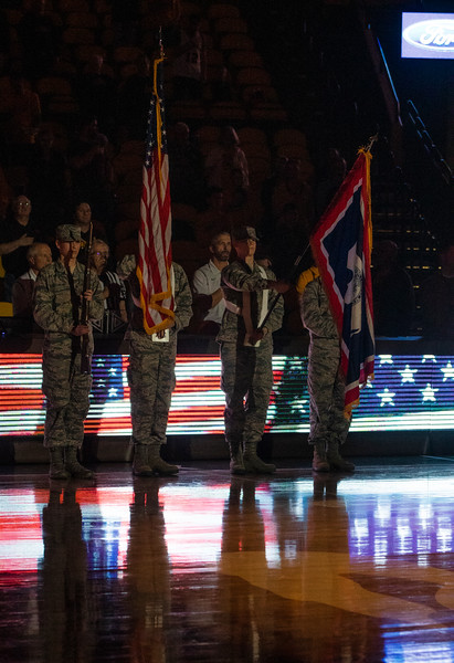 Wyoming ROTC cadets display colors during the national anthem Thursday, Nov. 21, 2019 at Arena-Auditorium. The Wyoming Cowboys defeated the Louisiana Ragin' Cajuns 69-61 in overtime. Nadav Soroker/Laramie Boomerang
