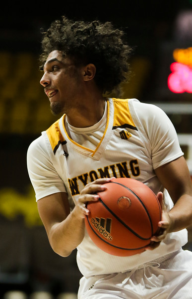 Wyoming guard Kwane Marble II (3) looks for an opening Thursday, Nov. 21, 2019 at Arena-Auditorium. The Wyoming Cowboys defeated the Louisiana Ragin' Cajuns 69-61 in overtime. Nadav Soroker/Laramie Boomerang