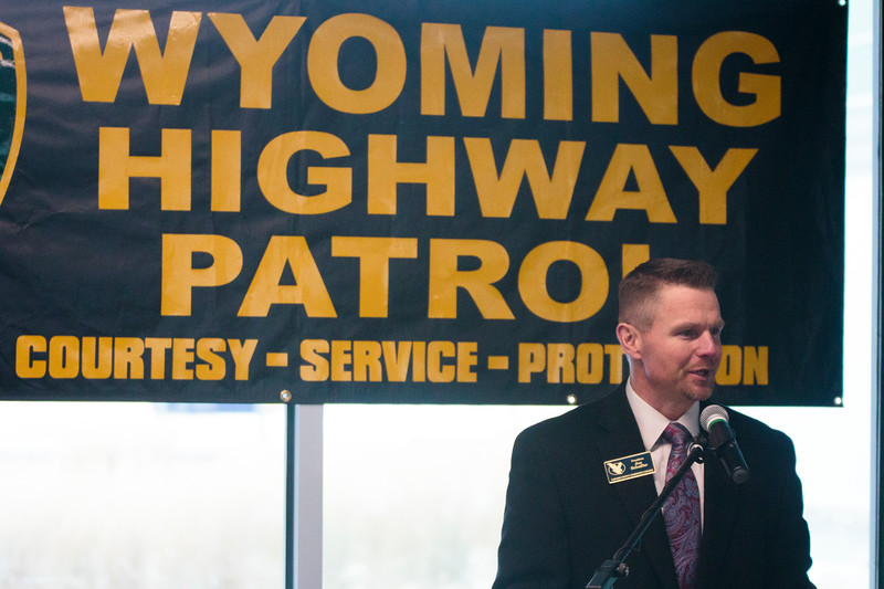 LCCC President Joe Schaeffer speaks at a press conference about the new location for the trooper academy Monday, Nov. 25, 2019 at Laramie County Community College. Wyoming Highway Patrol, WYDOT and Laramie County Community College announce a new partnership to bring house the Trooper Academy at the community college. Nadav Soroker/Wyoming Tribune Eagle