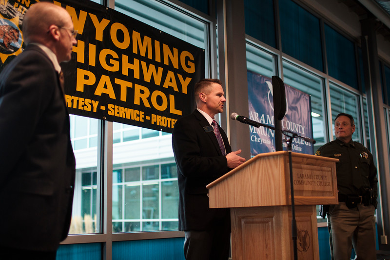 LCCC President Joe Schaeffer speaks at a press conference, flanked by WYDOT Director Maj. Gen. Luke Reiner, left, and WHP Col. Kebin Haller, about the new location for the trooper academy Monday, Nov. 25, 2019 at Laramie County Community College. Wyoming Highway Patrol, WYDOT and Laramie County Community College announce a new partnership to bring house the Trooper Academy at the community college. Nadav Soroker/Wyoming Tribune Eagle