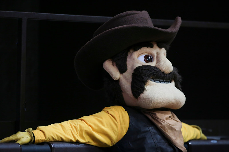 Pistol Pete reclines in the stands before the University of Wyoming Mens Basketball team hosts Air Force Academy, Wednesday, Dec. 4, 2019 in Arena-Auditorium. Nadav Soroker/Laramie Boomerang