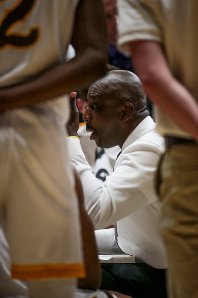 Wyoming coach Allen Edwards gives directions during a time out, Wednesday, Dec. 4, 2019 in Arena-Auditorium. University of Wyoming Mens Basketball lose to Air Force Academy 86-77. Nadav Soroker/Laramie Boomerang