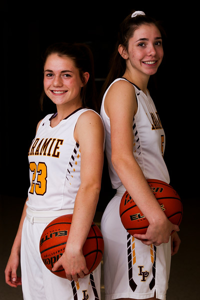 Laramie Lady Plainsmen Kylee Cox and Kayla Vasquez, Thursday, Dec. 5, 2019 at Laramie High School. Nadav Soroker/Laramie Boomerang