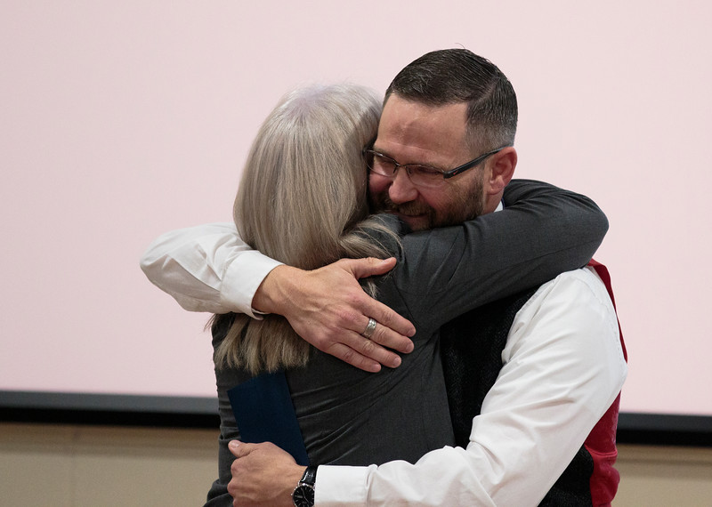Johnson Junior High School Principal Brian Cox wins the only 2019 Milken Educators Award for Wyoming Monday, Dec. 9, 2019 at Johnson Junior High School. Nadav Soroker/Wyoming Tribune Eagle
