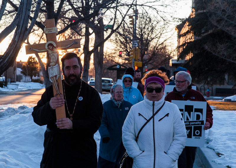 Wyoming residents march around the capitol in support of repealing the death penalty in Wyoming Monday, Dec. 9, 2019 in Cheyenne. Nadav Soroker/Wyoming Tribune Eagle