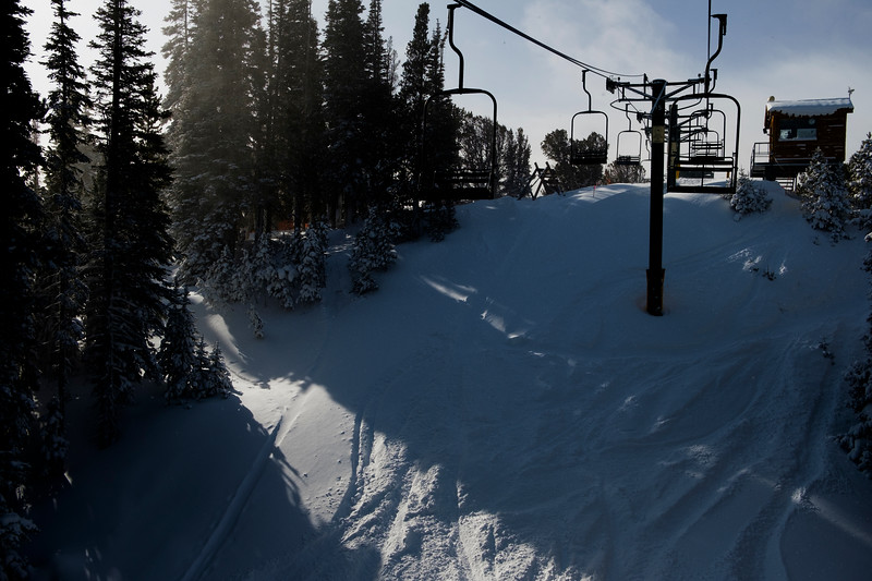 Light passes through the trees near the Chute, Thursday, Dec. 12, 2019 at Snowy Range Ski Area. Snowy Range currently has 36 inches of snow at the base according to the Ski Area, and the snow showers will continue through the weekend adding more, according to the National Weather Service. Nadav Soroker/Laramie Boomerang