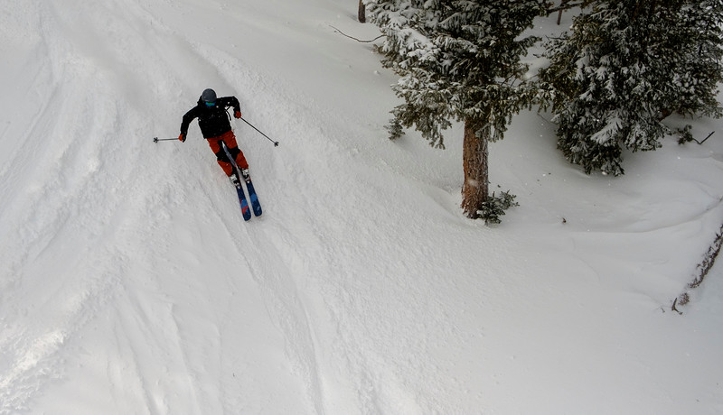 A skier descends the Chute, Thursday, Dec. 12, 2019 at Snowy Range Ski Area. Snowy Range currently has 36 inches of snow at the base according to the Ski Area, and the snow showers will continue through the weekend adding more, according to the National Weather Service. Nadav Soroker/Laramie Boomerang