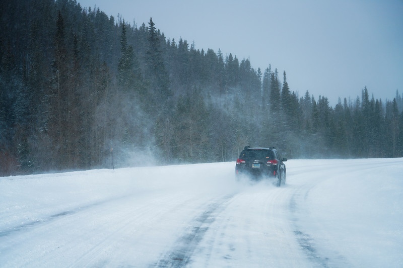 A car drives up the scenic byway on their way to Snowy Range Ski Area, Thursday, Dec. 12, 2019 in Medicine Bow National Forest. Nadav Soroker/Laramie Boomerang