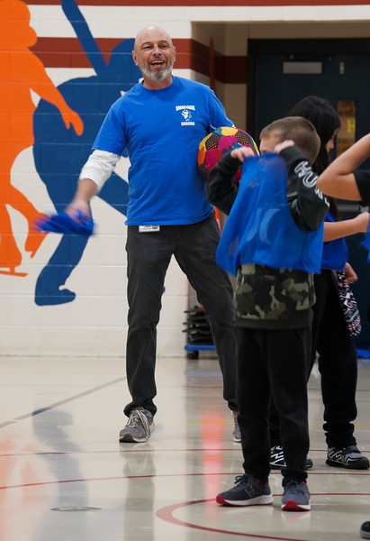 Tony Schaneman substitutes for PE Teacher Jesse Martin during a second grade class, Friday, Dec. 13, 2019 at Spring Creek Elementary. Schaneman is a student teacher from University of Wyoming, which is piloting a new student teaching program in cooperation with Albany County School District No. 1 next year. Nadav Soroker/Laramie Boomerang