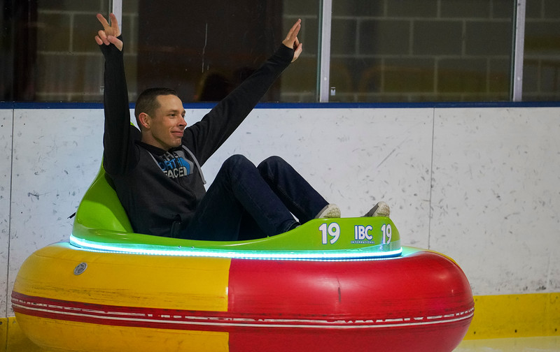 Second Lieutenant Stephen Chatterton and other members and family of the 90th CPTS at F.E. Warren play on the ice in bumper cars during a morale event, Friday, Dec. 13, 2019 at the Cheyenne Ice and Events Center. The trip to the ice rink preceded their division holiday party. Nadav Soroker/Wyoming Tribune Eagle