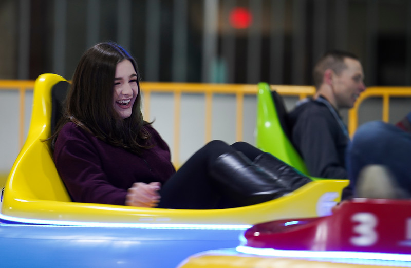 Members of the 90th CPTS at FE Warren enjoy ice bumper cars during a morale event, Friday, Dec. 13, 2019 at the Cheyenne Ice and Events Center. Nadav Soroker/Wyoming Tribune Eagle