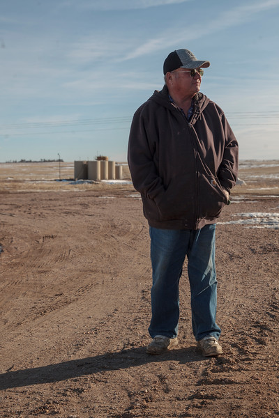 Owen Goertz, a pilot rancher for a new oil water reclamation program, tours his property Friday, Dec. 13, 2019 near Hillsdale. The reclaimed water irrigation would allow Goertz to potentially double some of his hay production compared to the dry land production he has now. Nadav Soroker/Wyoming Tribune Eagle