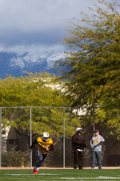 Wyoming cornerback Bryce Levinson runs a drill as the University of Wyoming football team practices at the FC Tuscon Saturday, Dec. 28, 2019 in Tucson. The Cowboys will take on the Georgia State Panthers on New Years Eve, at Arizona Stadium. Nadav Soroker/Wyoming Tribune Eagle