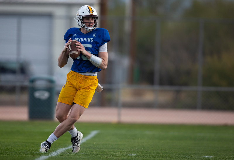 Wyoming quarterback Levi Williams throws a pass as the University of Wyoming football team practices at the FC Tuscon Saturday, Dec. 28, 2019 in Tucson. The Cowboys will take on the Georgia State Panthers on New Years Eve, at Arizona Stadium. Nadav Soroker/Wyoming Tribune Eagle