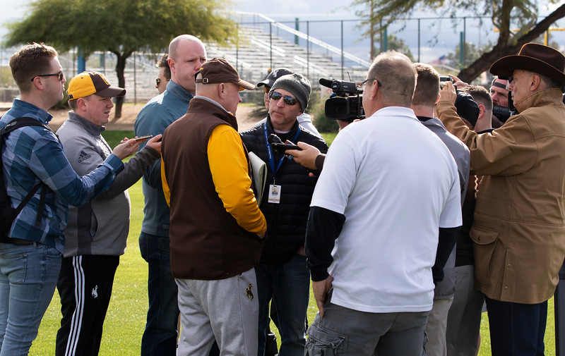 Wyoming head coach Craig Bohl speaks at the press scrum as the University of Wyoming football team practices at the FC Tuscon Saturday, Dec. 28, 2019 in Tucson. The Cowboys will take on the Georgia State Panthers on New Years Eve, at Arizona Stadium. Nadav Soroker/Wyoming Tribune Eagle