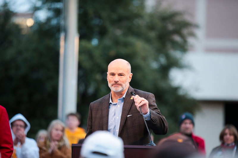 Wyoming athletic director Tom Burman at the pep rally Monday, Dec. 30, 2019 in downtown Tucson. University of Wyoming Cowboys fans joined the Western Thunder Marching band and spirit squad in a pep rally against the Georgia State University Panthers fans and band. Nadav Soroker/Wyoming Tribune Eagle