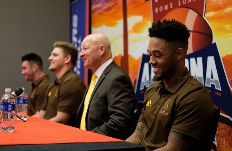 Wyoming Cowboys wide receiver Austin Conway laughs while responding to a question at a pre-game press conference Monday, Dec. 30, 2019 at the AC Marriot in Tucson. Kicker Cooper Rothe, lineman Logan Wilson and head coach Craig Bohl spoke with Conway during the press conference. Nadav Soroker/Wyoming Tribune Eagle