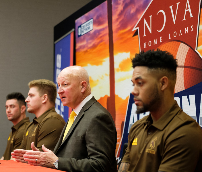 Wyoming Cowboys head coach Craig Bohl speaks about the upcoming bowl game against the Georgia State Panthers at a pre-game press conference Monday, Dec. 30, 2019 at the AC Marriot in Tucson. Bohl was joined by kicker Cooper Rothe, lineman Logan Wilson and wide receiver Austin Conway. Nadav Soroker/Wyoming Tribune Eagle
