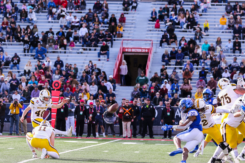 Wyoming kicker Cooper Rothe (40) sends a kick through the uprights Tuesday, Dec. 31, 2019 at the University of Arizona. The Wyoming Cowboys lead the Georgia State Panthers 24-10 at halftime in the Arizona Bowl. Nadav Soroker/Wyoming Tribune Eagle