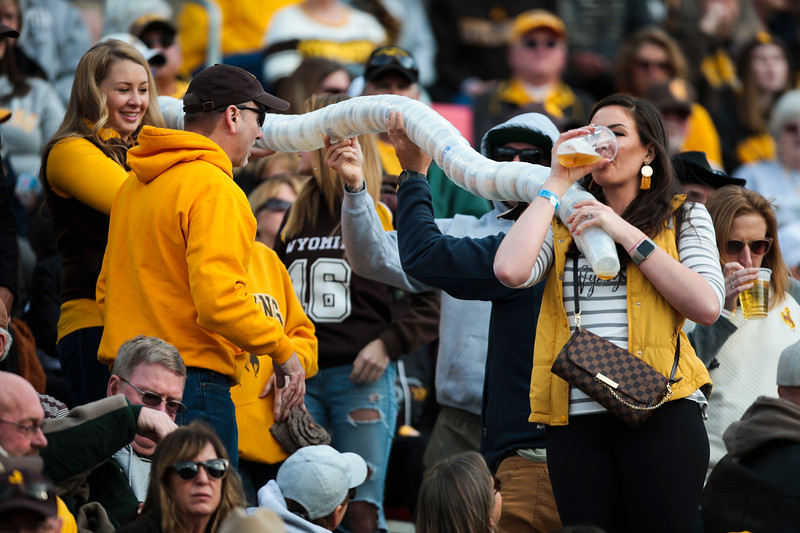 Wyoming fans make a beer cup line Tuesday, Dec. 31, 2019 at the University of Arizona. The Wyoming Cowboys lead the Georgia State Panthers 24-10 at halftime in the Arizona Bowl. Nadav Soroker/Wyoming Tribune Eagle