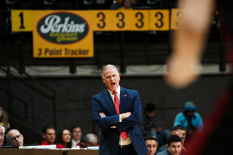 San Diego State head coach Brian Dutcher shouts at his team from the sidelines Wednesday, Jan. 8, 2020 in Arena-auditorium. The University of Wyoming basketball team loses to San Diego State 72-52. Nadav Soroker/Laramie Boomerang