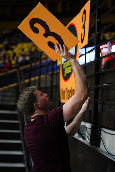 Michael Welik, a Wyoming junior, adds a three-point card to the rail Wednesday, Jan. 8, 2020 in Arena-auditorium. The University of Wyoming basketball team loses to San Diego State 72-52. Nadav Soroker/Laramie Boomerang