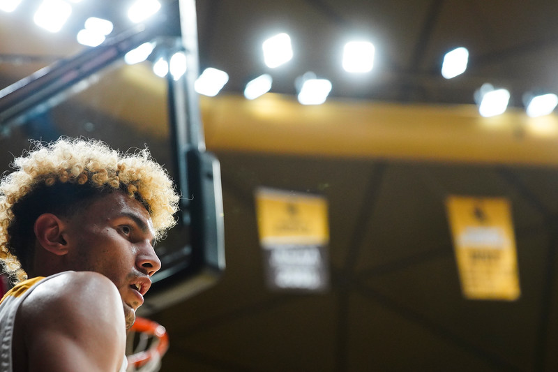 Wyoming guard Hunter Maldonado (24) looks to the ref before throwing in the ball Wednesday, Jan. 8, 2020 in Arena-auditorium. The University of Wyoming basketball team loses to San Diego State 72-52. Nadav Soroker/Laramie Boomerang