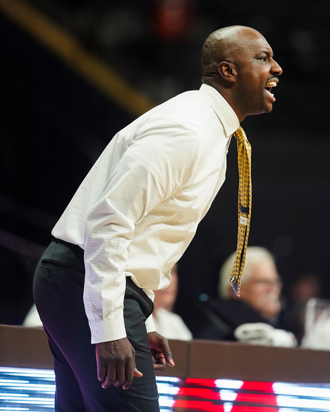Wyoming head coach Allen Edwards yells directions to his team Wednesday, Jan. 8, 2020 in Arena-auditorium. The University of Wyoming basketball team loses to San Diego State 72-52. Nadav Soroker/Laramie Boomerang