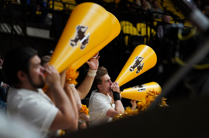 Wyoming cheerleaders chant support for the Cowboys Wednesday, Jan. 8, 2020 in Arena-auditorium. The University of Wyoming basketball team loses to San Diego State 72-52. Nadav Soroker/Laramie Boomerang