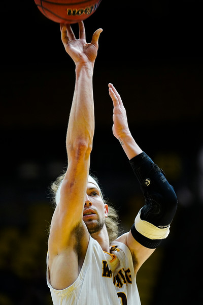 Wyoming guard Jake Hendricks (0) attempts a free throw Wednesday, Jan. 8, 2020 in Arena-auditorium. The University of Wyoming basketball team loses to San Diego State 72-52. Nadav Soroker/Laramie Boomerang