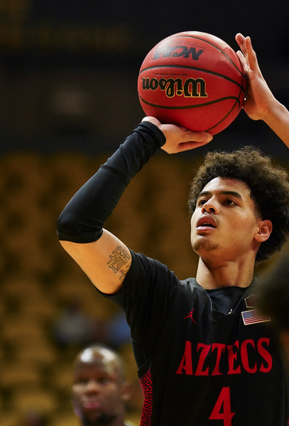 San Diego State guard Trey Pulliam (4) attempts a free throw Wednesday, Jan. 8, 2020 in Arena-auditorium. The University of Wyoming basketball team loses to San Diego State 72-52. Nadav Soroker/Laramie Boomerang