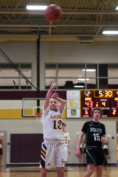 Laramie High freshman Jaedyn Brown attempts a free throw Thursday, Jan. 9, 2020 at the Laramie High School Gymnasium. The Plainsmen defeat Green River 52-49 in the first day of the Taco John's Invitation. Nadav Soroker/Laramie Boomerang