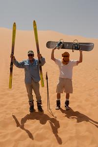 Sand dune skiing in the Sahara desert
