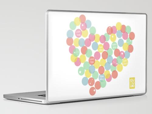 CONFETTI HEART LOVE Laptop skin