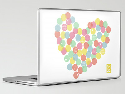 CONFETTI HEART LOVE Laptop skin