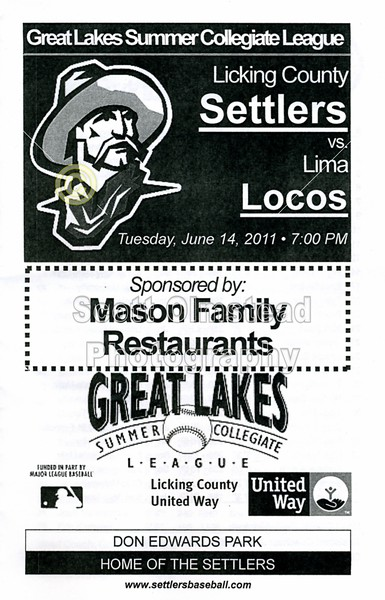 Tuesday, June 14, 2011 - Lima Locos at Licking County Settlers - Great Lakes Summer Collegiate League - Newark, Ohio
