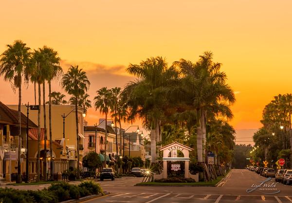 Warm Sunset in Historic Venice, Florida
