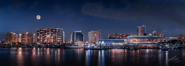 Moon Over Sarasota, Florida Skyline