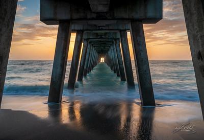 Sun Centered Under Venice Fishing Pier, Florida
