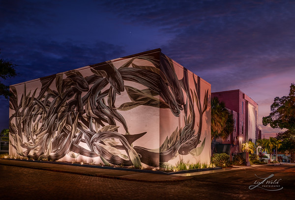 Imagine Museum Exterior Side with Mural, Evening