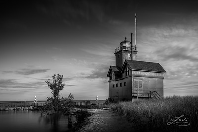 Holland Harbor Lighthouse, Michigan, Black and White