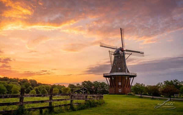 The Most Beautiful Sunrise at Windmill Island in Holland, Michigan
