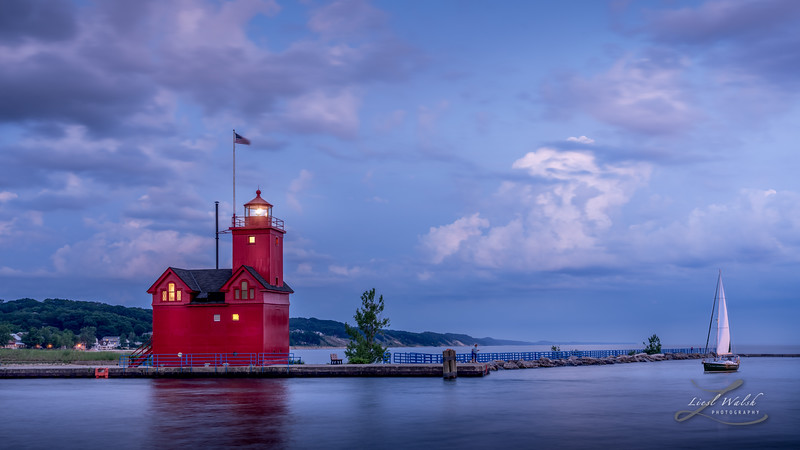 Big Red at Blue Hour With Sailboat, Holland, Michigan