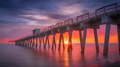 Venice Fishing Pier Sunset, Florida, Painterly