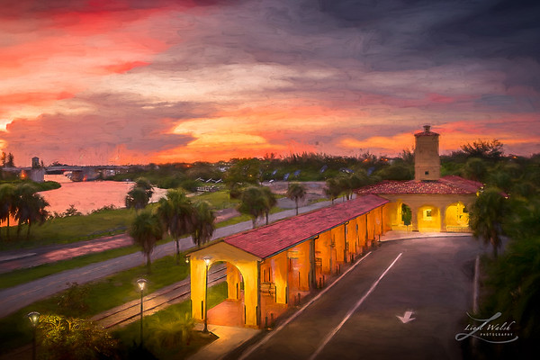 Sunset at the Train Depot in Venice, Florida, Painterly