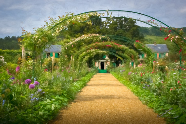 Arbor Walkway To Monet's Home, Giverny, Painterly