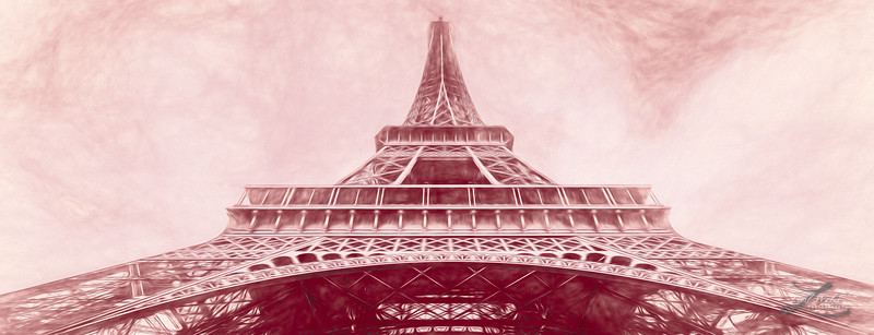 Under The Eiffel Tower, Paris, Red Sketch, Pano