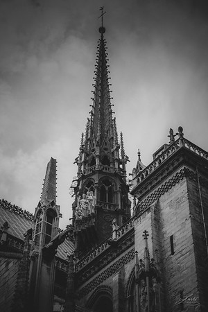 Ornate Details of Spire on Notre Dame, Paris 2016